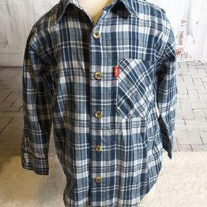 3/$30 Levi's Jeans blue plaid shirt size 4